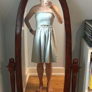 Heather grey wool cocktail dress